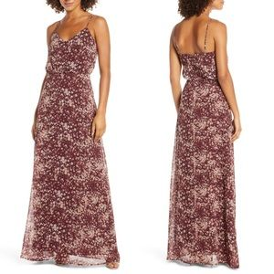 WAYF savannah burgundy floral blouson maxi dress